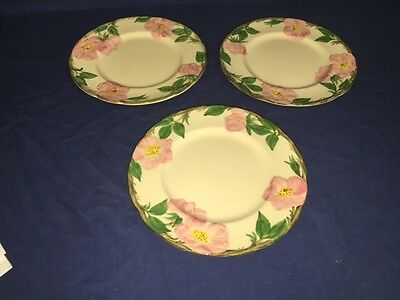 "3 USA Franciscan Desert Rose 8"" Salad Plates"
