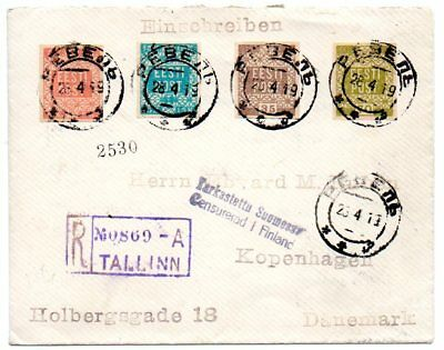 Estonia: 1919 Reg. cover to Copenhagen from Tallinn censored