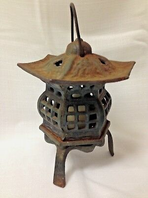 Vintage Cast Iron Japanese Garden Pagoda Tea Light w/ bottom opening