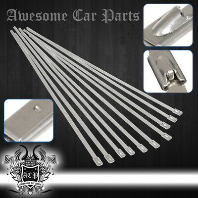 """12"""" 10 Pieces Stainless Steel Cable Cord Zip Tie Safety Self Lock Secure Set"""