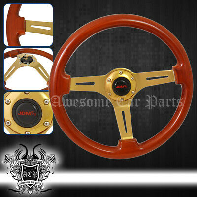 345Mm Universal Heavy Duty Steel Center Steering Wheel Wood Grain Light Brown