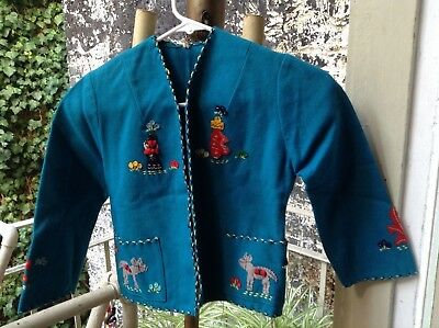 Vintage Child's Mexican Wool Souvenir Embroidered Jacket Turquiose Sz.8