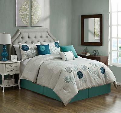 Chezmoi Collection Rosie 7pc Embroidered Blue Teal Rose Floral Comforter Set