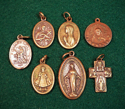 Lot of 7 Brass Bronze Vintage Antique Catholic Religious Charm Pendant Medals