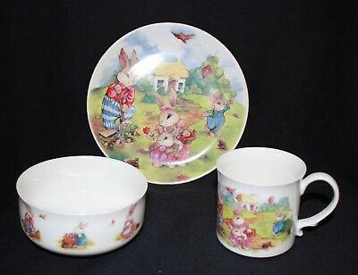 vintage BONE CHINA child baby dinner set HITKARI bunny rabbits cup saucer plate