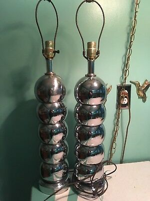 Vintage pair Mid Century kovacs 5 stacked Chrome Ball Lamps