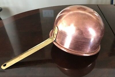 "Large Vtg Antique Solid Copper Bowl & Solid Brass Handle 14"" Ladle/Dipper"