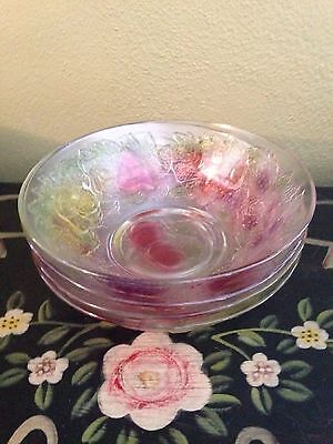 4 Firna Indonesia clear glass embossed multi colored fruit pattern bowls