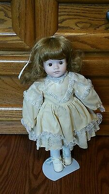 Porcelain Doll with Stand - Tan/Yellow Dress-  *Very Good Condition*