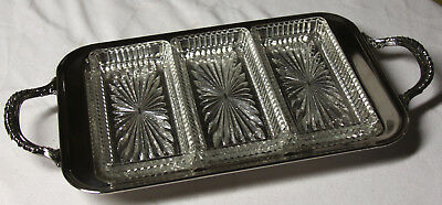 Raimond Silver Plate Three Glass Dish Serving Tray Scroll Design Footed