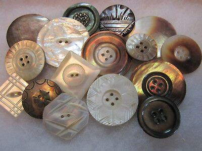 Lot Of Med To Large Antique & Vintage Pearl Buttons/ Carved +