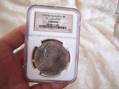 1783 Mexican Silver 8 REALES , Wreck of the El Cazador, NGC certified genuine,