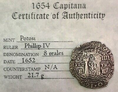 1652 P Silver Potosi Transitional 8 Reales Cob Salvage Treasure  La Capitana Coa