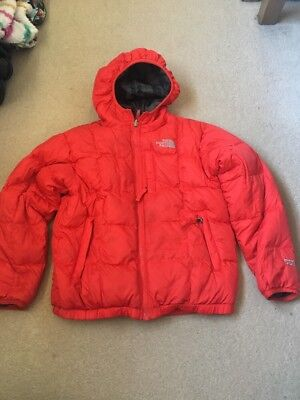 Boys Reversable North Face Coat Red Or Grey Check 7-8 Years