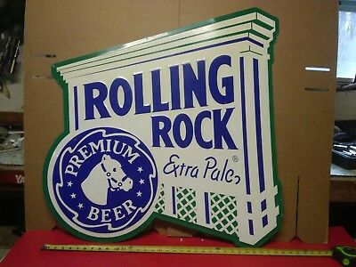"""Large ROLLING ROCK Tin Beer Sign 34"""" x 34"""""""