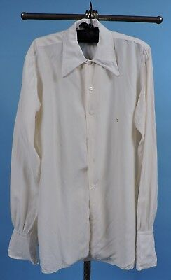 Antique 1920'S Men'S Silk Shirt W Emb Id And French Cuffs