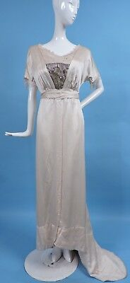 Edwardian Silk Satin Dress W Lame Lace Front & Weighted Rear Train