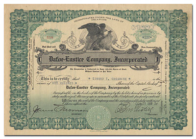 Dafoe-Eustice Company, Incorporated Stock Certificate (Ford Model T Covers)