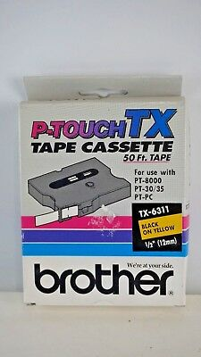 """New Brother P-Touch Tape Cassette 50 Ft Tape TX-6311 1/2"""" (12mm) Black on Yellow"""