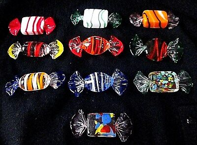 (LOT OF 10) Vintage Italian Murano(?) Crystal Candies LOTS OF BUBBLES!!! MINT!