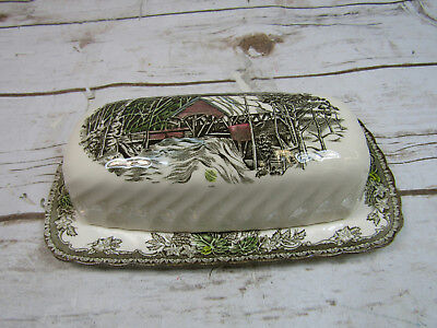 Johnson Bros The Friendly Village Covered Butter Dish Made in England