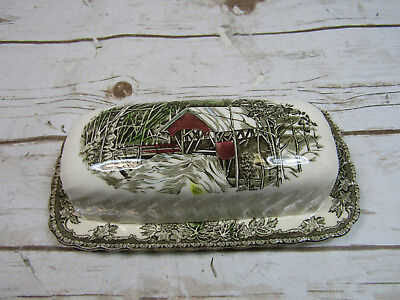 Johnson Bros The Friendly Village Made in England Covered Butter Dish