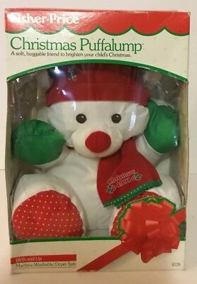 1991 Fisher Price Puffalumps Christmas Bear Puffalump New In Box Red Scarf