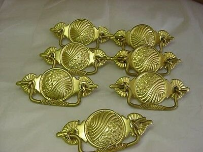 7 Vintage Nos Brass Ornate Repro Victorian Drawer Pulls  Not Antiques