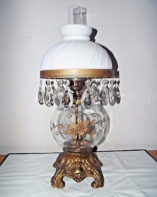Gone With The Wind Vtg 3-Way Fancy Brass Ornate Floral Display Hurricane Lamp