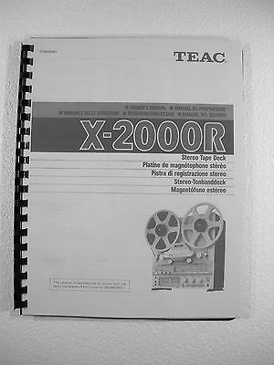 One New Copy Teac X-2000R Reel To Reel Tape Deck Recorder Owner's Manual