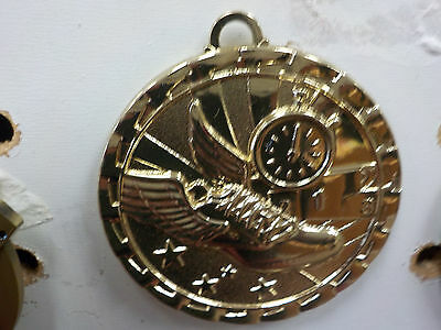 "Bright GOLD medal, 2"" diam, ribbon-R, W & B, track, running, your engraving"