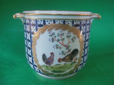 Vintage Carl Thieme Dresden Handpainted Cache Pot Planter Roosters & Hens Exc.