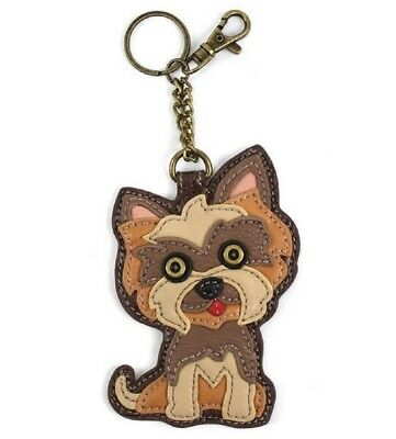 Chala Yorkie Yorkshire Terrier Puppy Dog Key Chain Coin Purse Leather Bag Fob Ch