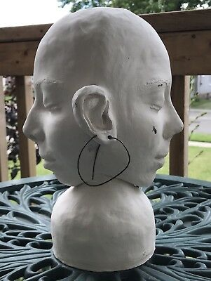 Retro Mid Century Modern Janus Clay Sculpture Double Face Head Carved Handmade