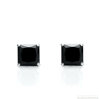 2.50 Ct Princess Created Black Diamond Solitaire Earrings 14K Solid White Gold