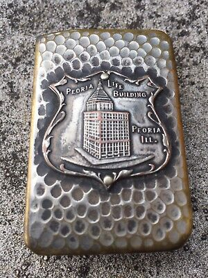 Vintage Brass Hammered Silver Matchbox Cover Holder Peoria Life Building Il