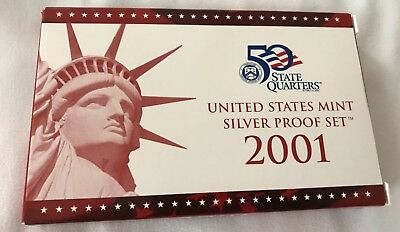 2001-S 90% Silver Proof Set United States Mint Original Government Packaging Box