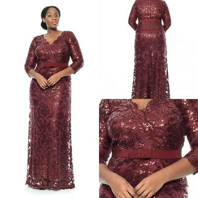 Sequin Mother Of The Bride Dress Prom Evening Party Sheath Lace New Gown Size 22