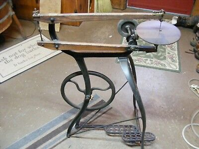 Antique New Rogers Treadle Scroll Saw  Millers Falls Mass Cast Iron Frame pickup