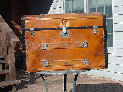 Antique Trunk Charming Restoration! Pat'd 1869,70 & 77 As Much As 141 Years Old!