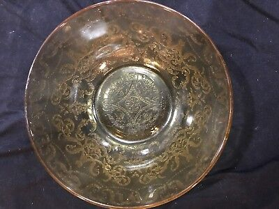 """Yellow / Amber Depression : Federal Glass : Madrid Pattern 9 1/2"""" Serving Bowl"""