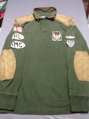 Rare VintagePOLO RALPH LAUREN Riders Association MC Leather Rugby Motorcycle M