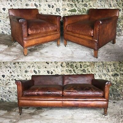 PAIR of ANTIQUE LEATHER CLUB ARM CHAIRS - VINTAGE LIBRARY HOWARD ?