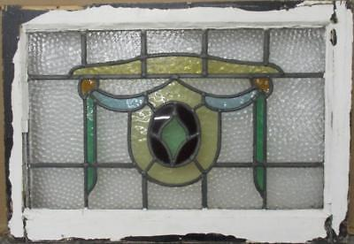 "MID SIZED OLD ENGLISH LEADED STAINED GLASS WINDOW Gorgeous Abs 26.5"" x 18.25"""
