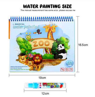 Magic Water Painting Drawing Coloring Book Mat Animal Kids Doodle Paint Toy AU