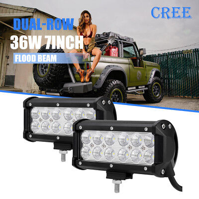 """2x 7""""inch 36W CREE LED Work Light Bar Flood/Spot Offroad Driving UTE SUV 4WD 6"""""""
