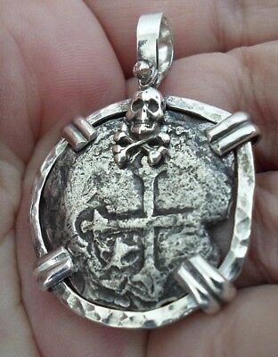 Genuine 4 Reales Silver Spanish Shipwreck Treasure Cob Coin Sterling Pendant