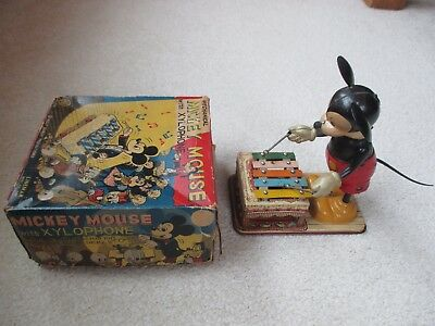 VINTAGE MARX-LINEMAR MICKEY MOUSE XYLOPHONE TIN WIND-UP TOY w/ BOX - IT WORKS!
