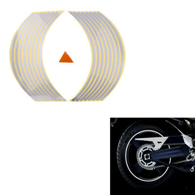 "Silver 17"" Rim Tape Decals Stickers Stripes Reflective Motorcycle Wheel Bike"