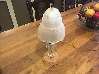 Antique Vintage Blush Pink Frosted Satin & Clear Glass Boudoir Lamp & Shade